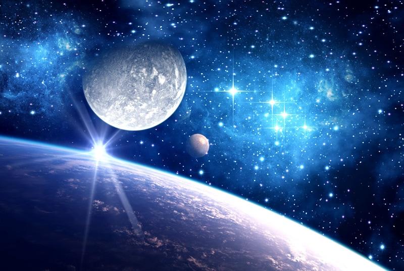 Bild mit Blick auf verschiedene Planeten aus dem Universum